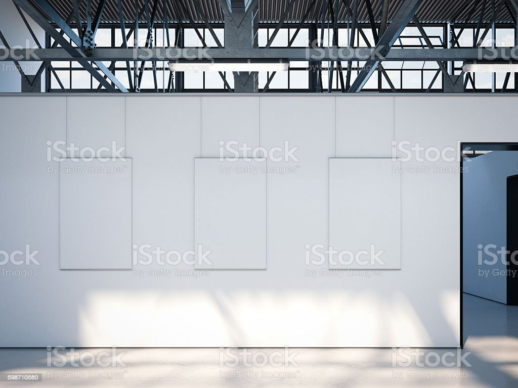 Modern bright gallery with white posters. 3d rendering stock photo