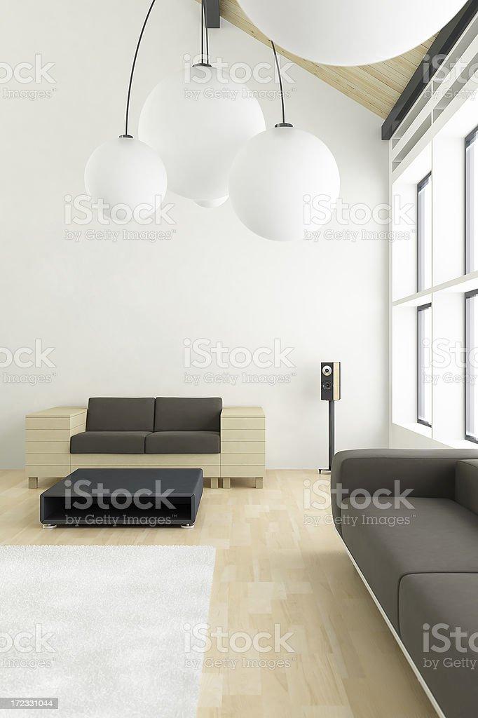 modern bright interior render (CGI) stock photo