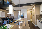 Modern, bright, kitchen and dining room. Interior design.