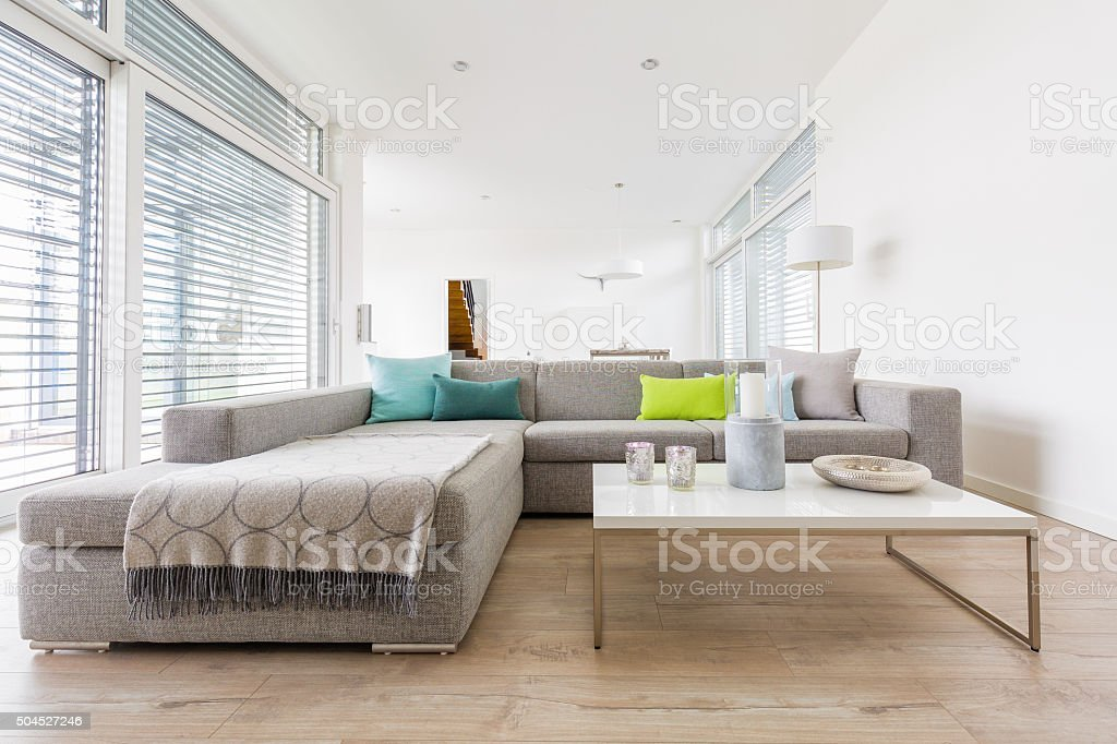 Modern bright living-room stock photo