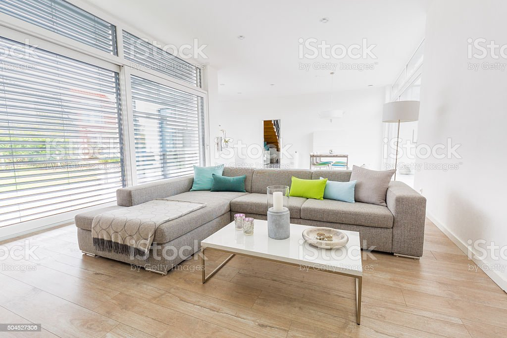 Modern bright living-room stock photo