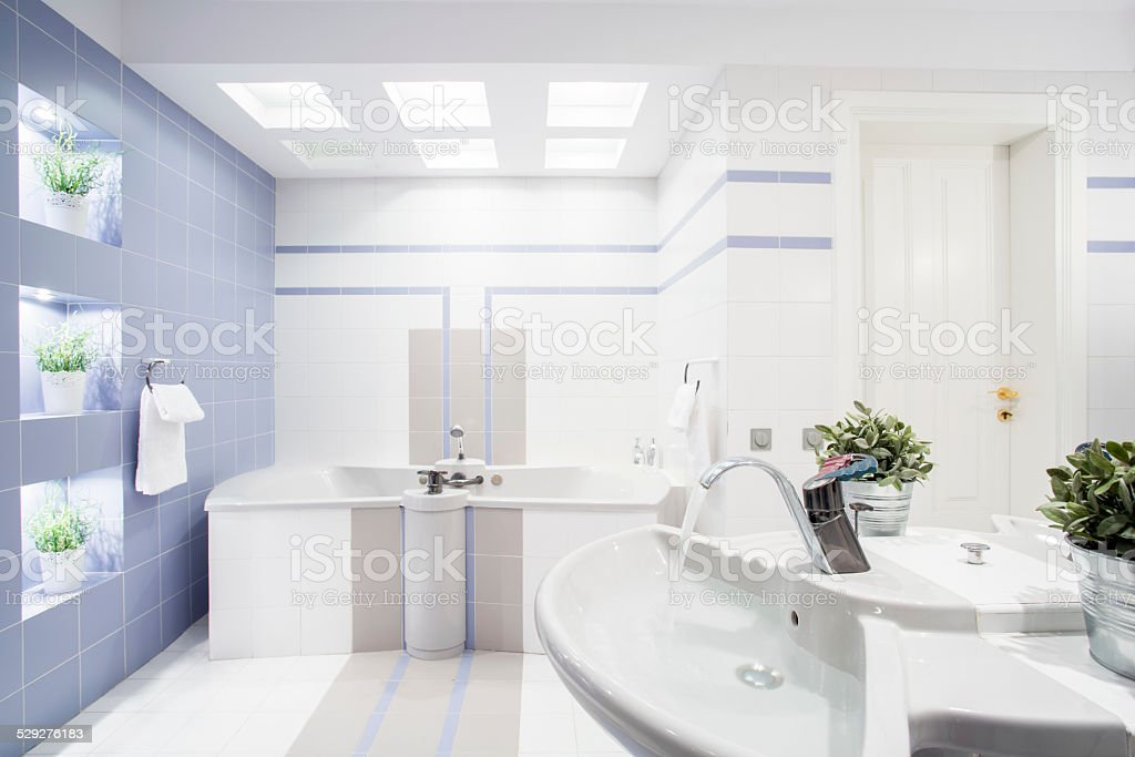 Modern bright toilet interior stock photo