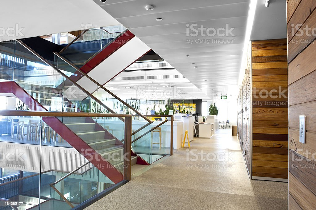 Modern brightly lit office space stock photo