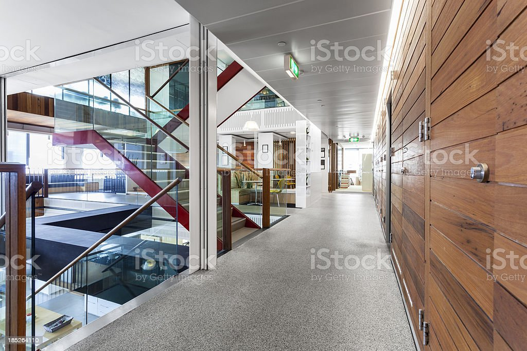 Modern, brightly lit office space stock photo