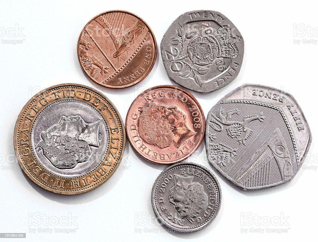 Modern British coins royalty-free stock photo