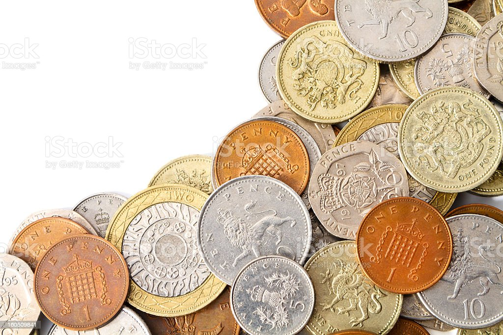 Modern British Coins with Copy Space royalty-free stock photo