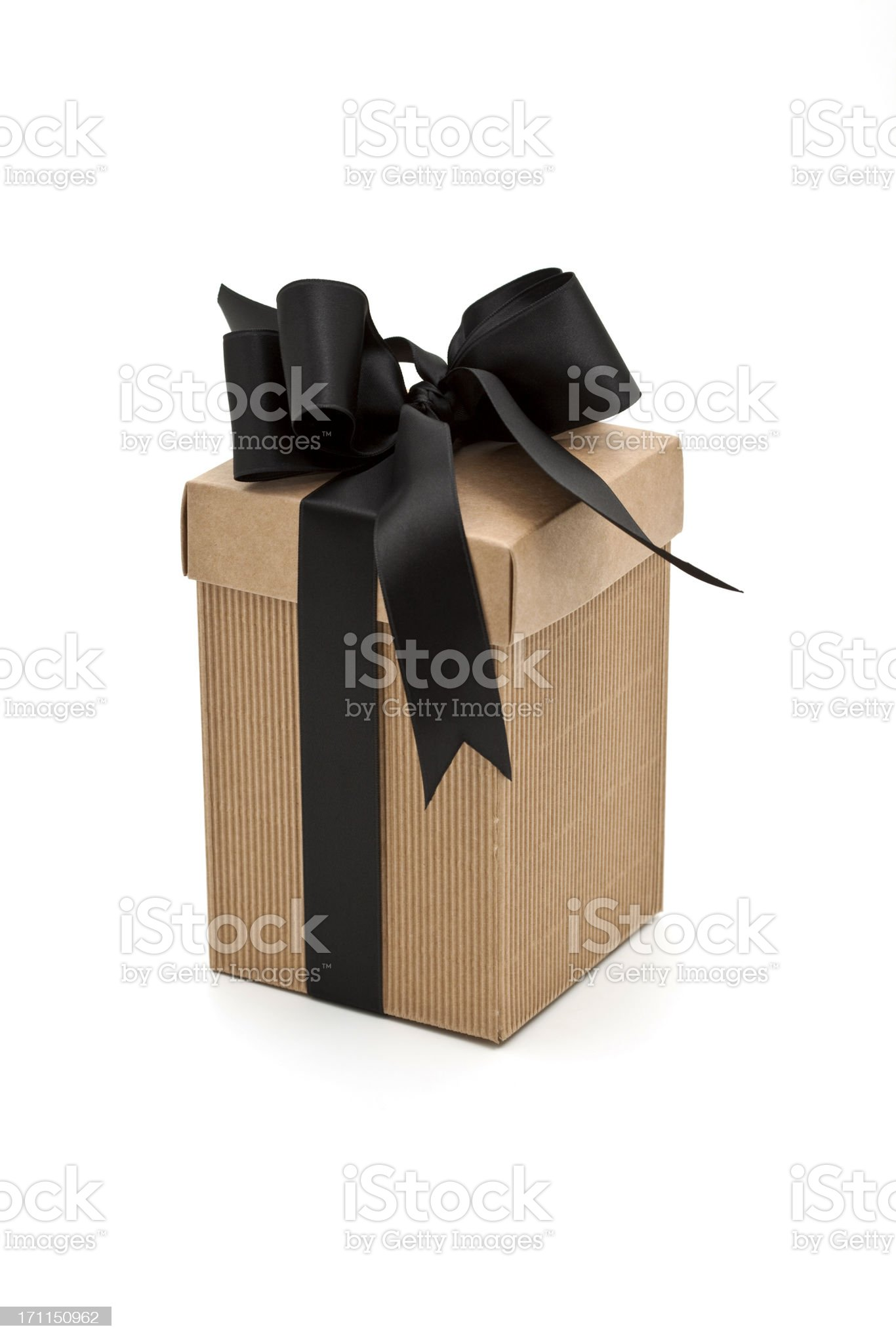 modern brown gift box with black bow royalty-free stock photo