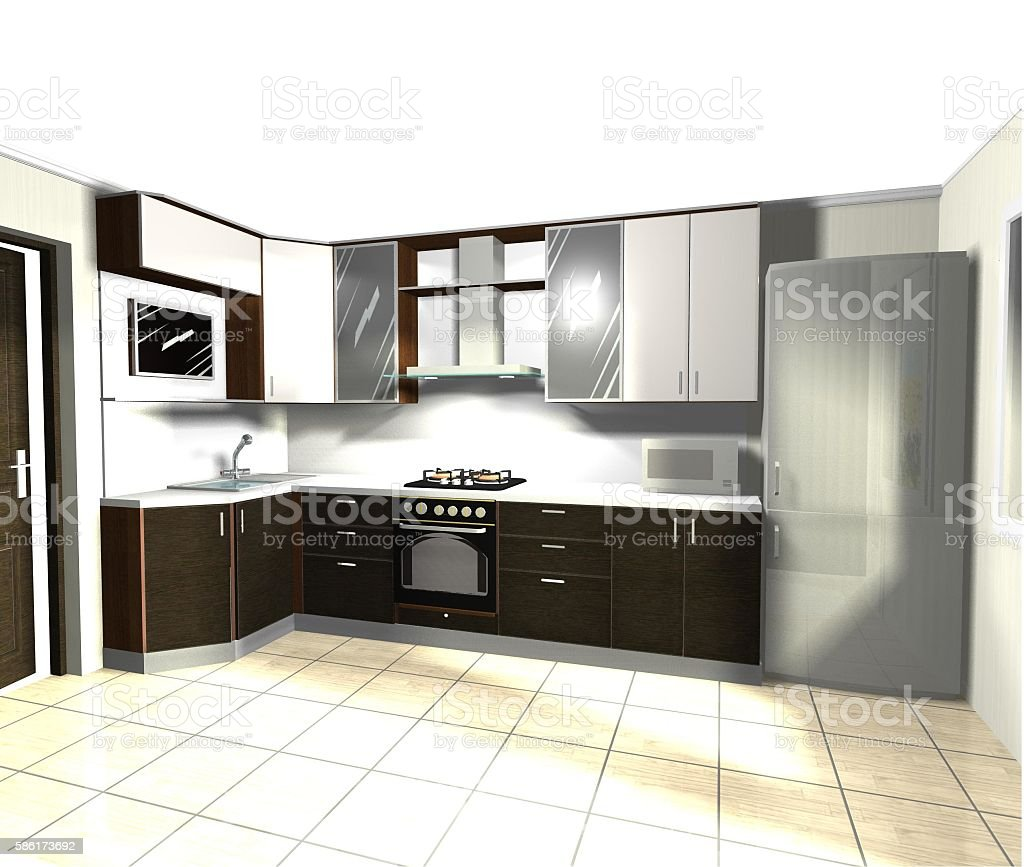 modern brown  white kitchen 3D rendering stock photo