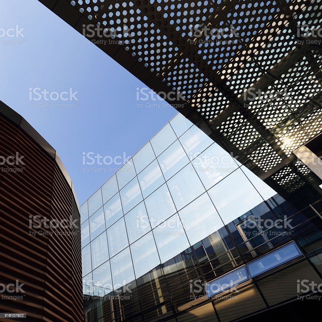 Modern building  and glass steel column stock photo