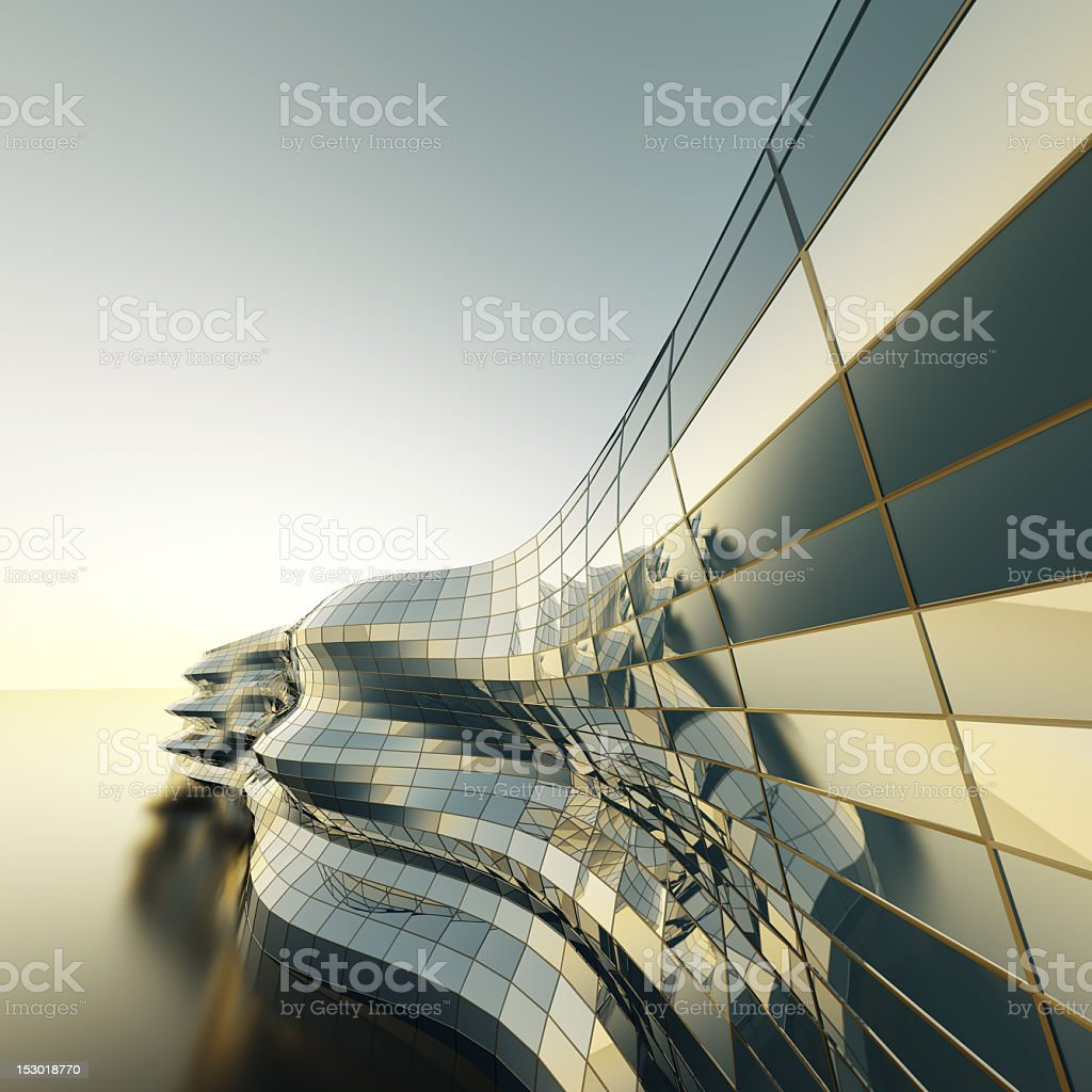 Modern building downtown covered in reflective tiles stock photo