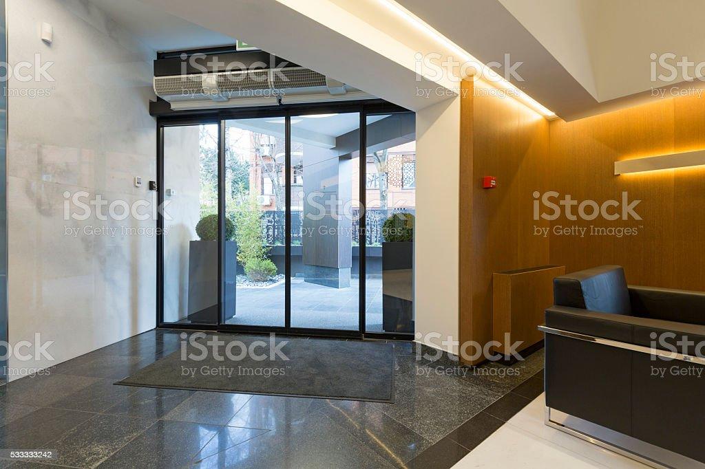 Modern building entrance hall stock photo