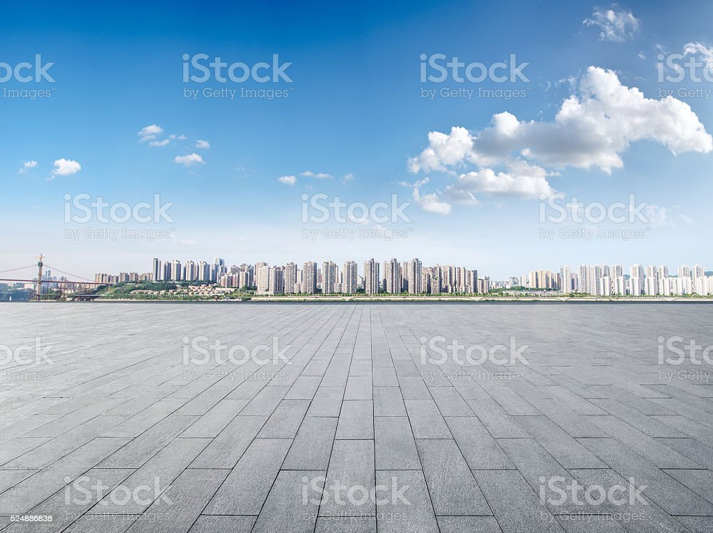 Modern building exterior with Modern architecture platform stock photo