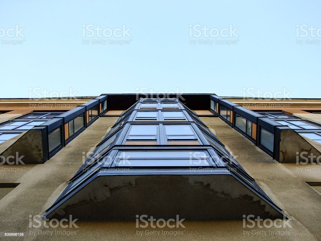 Modern Building from below of Balcony stock photo