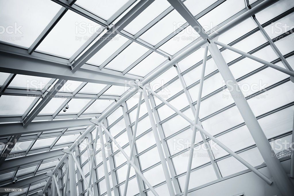 Modern building glass ceiling with columns royalty-free stock photo