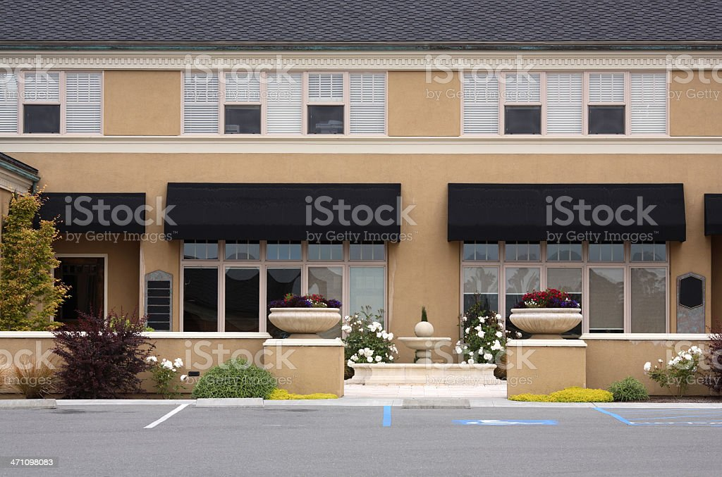 Modern building in new strip mall stock photo