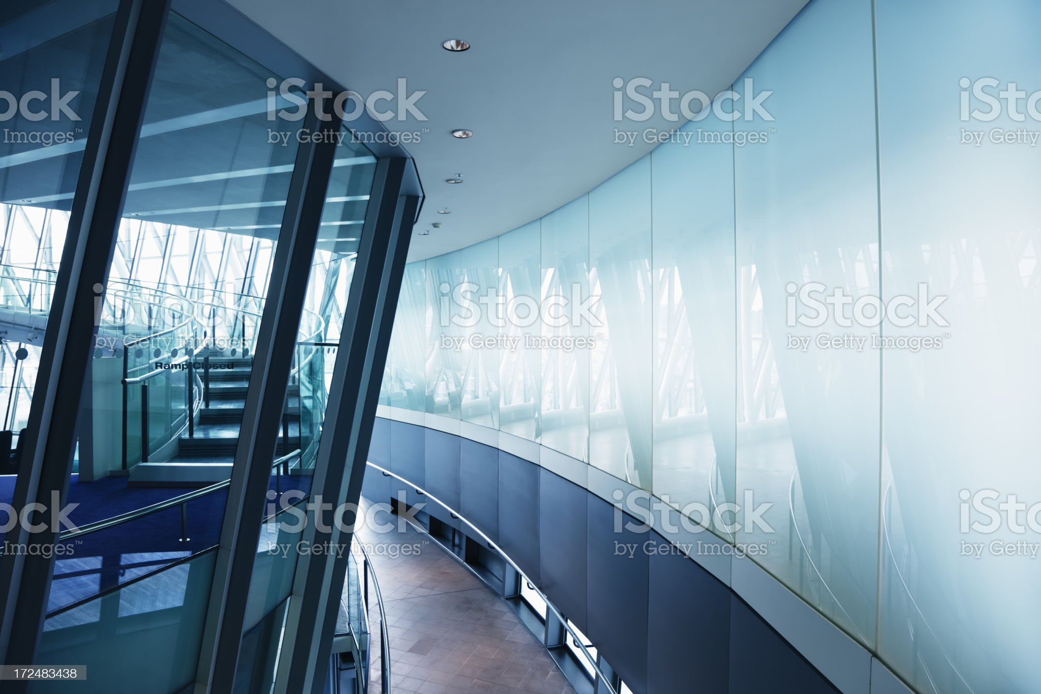 Modern Building Interior with Spiral Stairs, London City Hall royalty-free stock photo