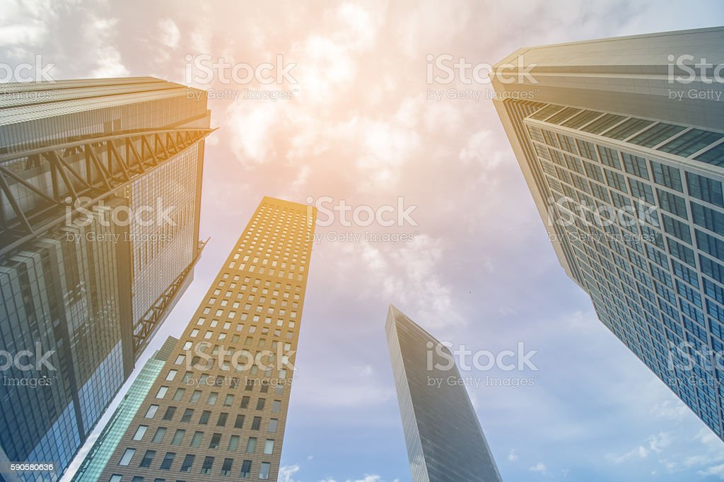 modern building skyline, viewed form below stock photo
