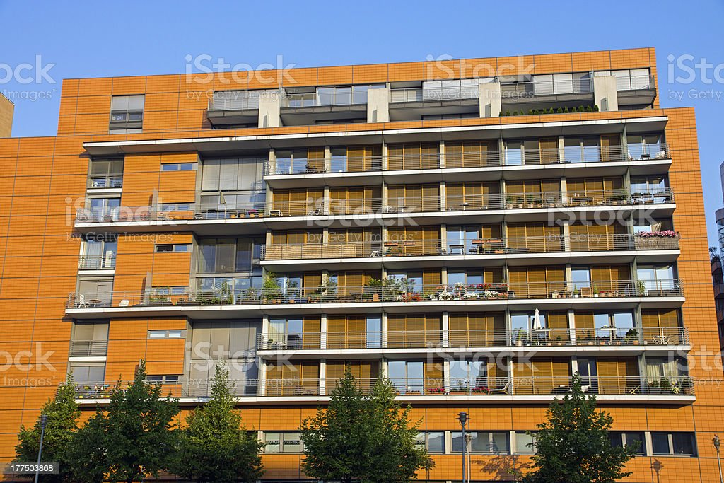 Modern building with balconies stock photo