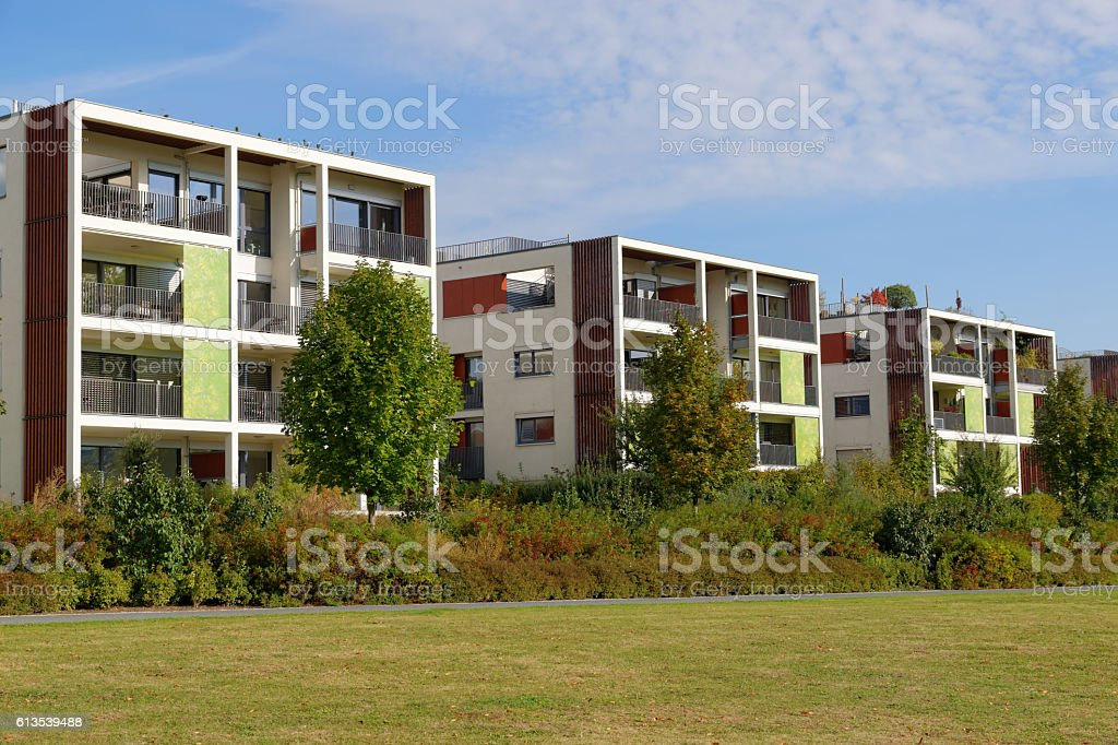 Modern building with balcony stock photo