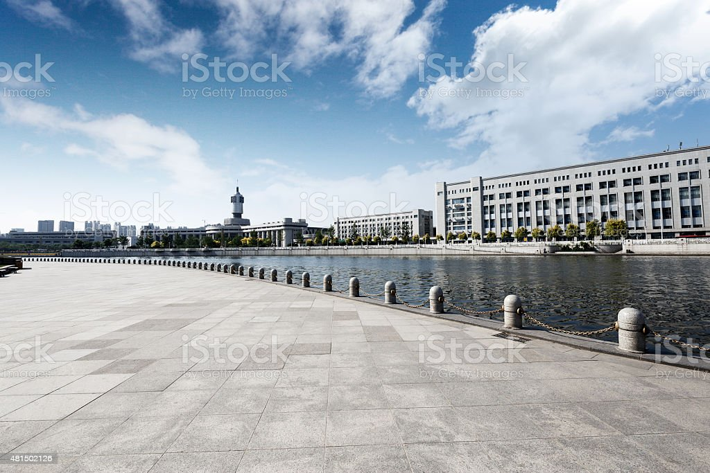 Modern building with empty road floor stock photo