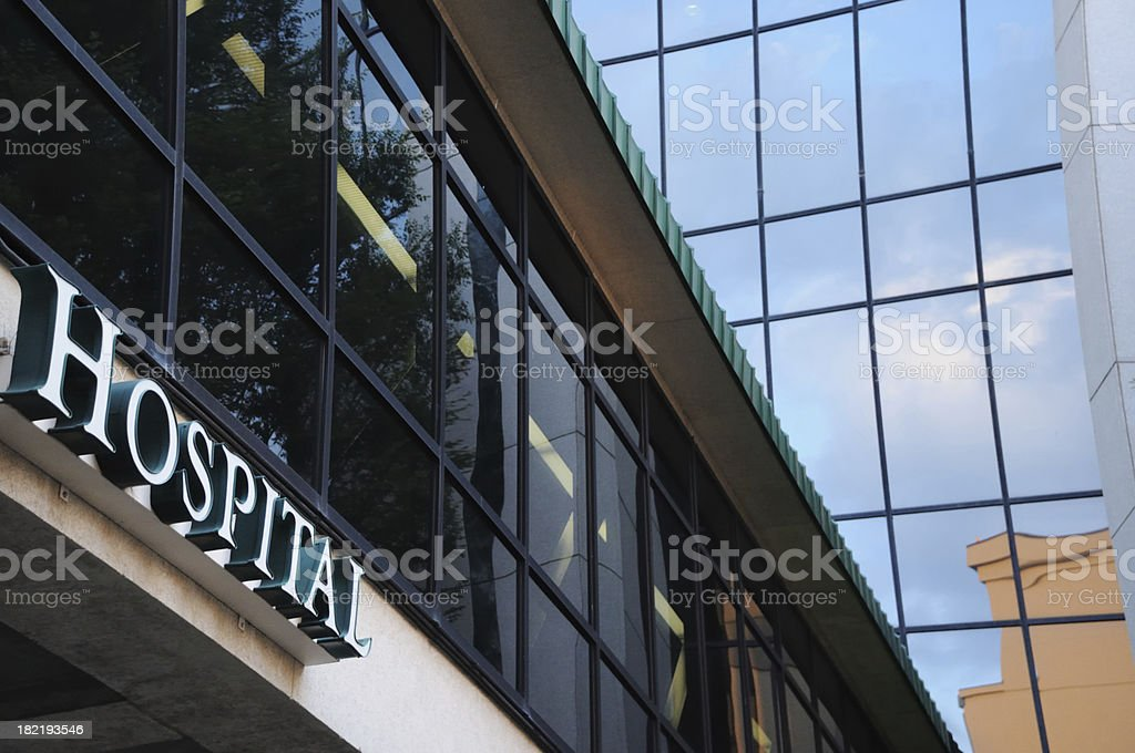 Modern building with hospital sign stock photo