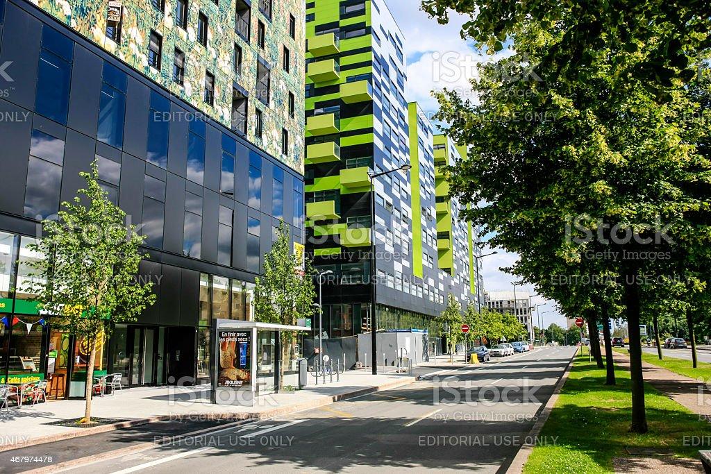 Modern buildings along the Bvd President Hoover in Lille stock photo