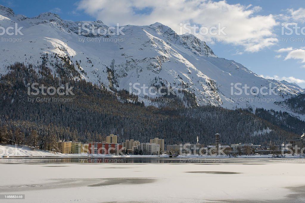 Modern buildings among a snowy landscape royalty-free stock photo