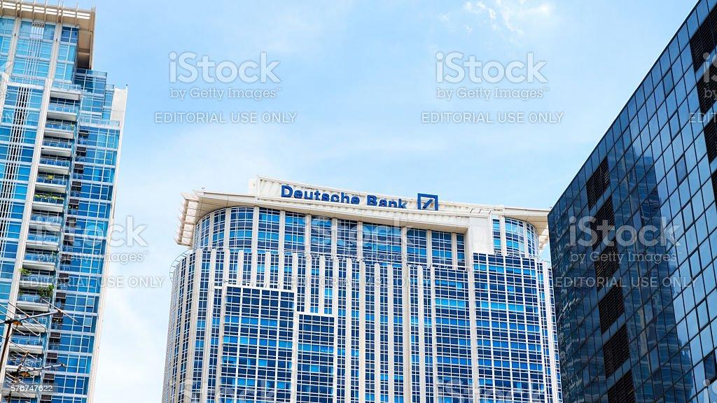 Modern buildings and Deutsche Bank in Bangkok stock photo