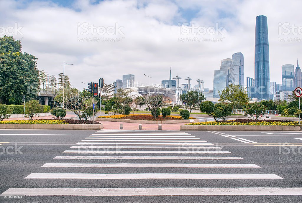 modern buildings and road stock photo