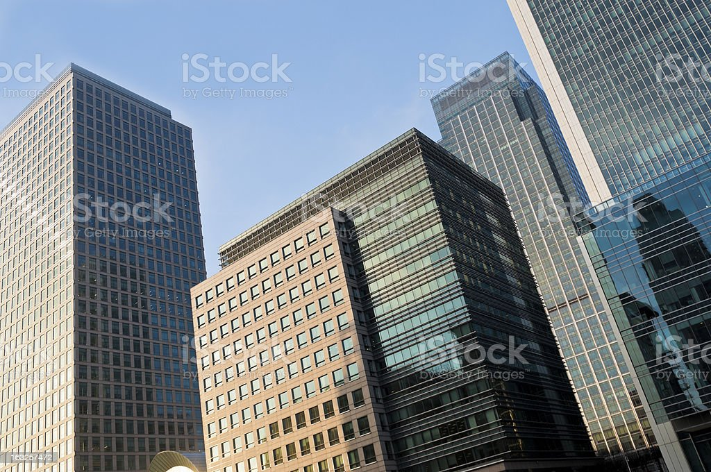Modern buildings in Canary Wharf royalty-free stock photo
