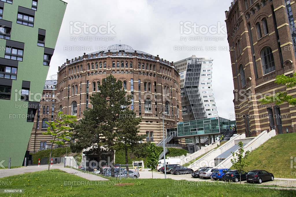 Modern buildings in front of Gasometers of Vienna in Austria stock photo