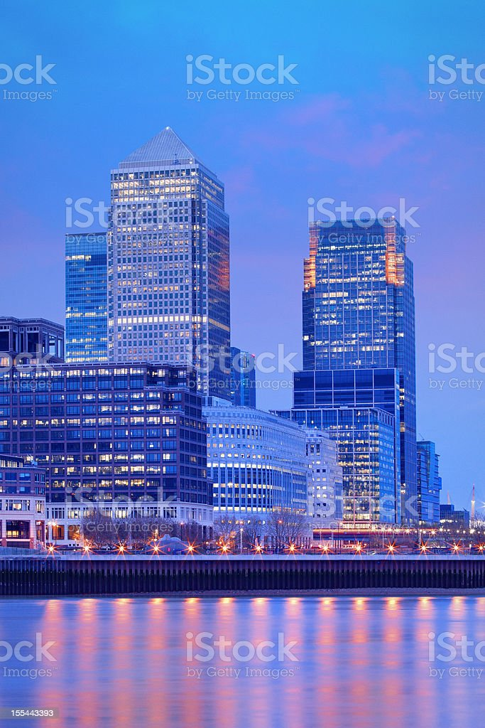 modern buildings in London at dusk royalty-free stock photo