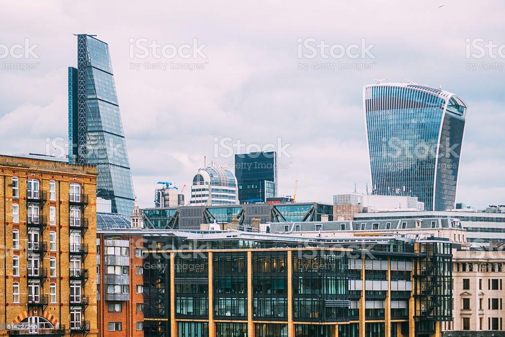 Modern buildings in London stock photo