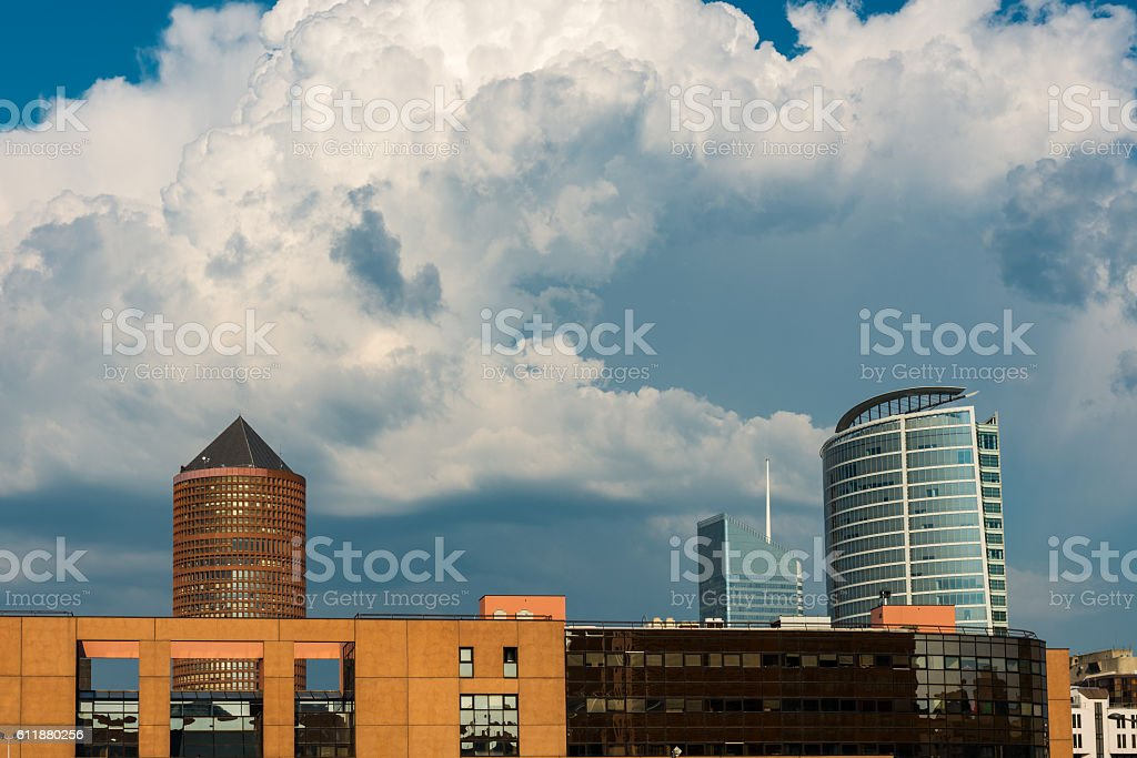 modern buildings in Lyon stock photo