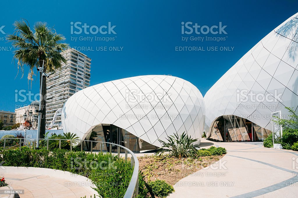 Modern buildings is Monte-Carlo Pavillions. stock photo