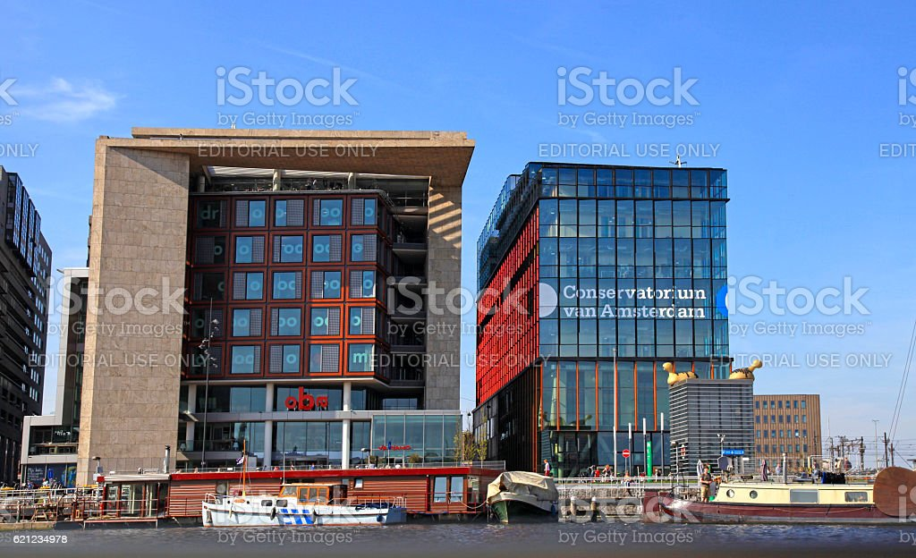 Modern buildings of Conservatory and Library, Amsterdam stock photo