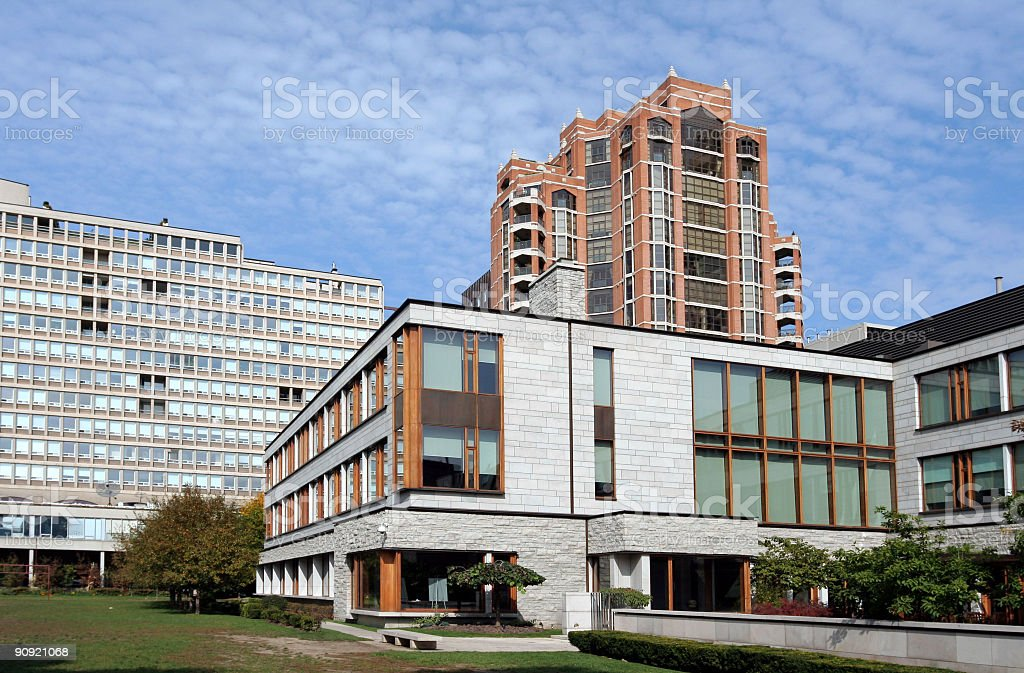 modern buildings, office campus stock photo