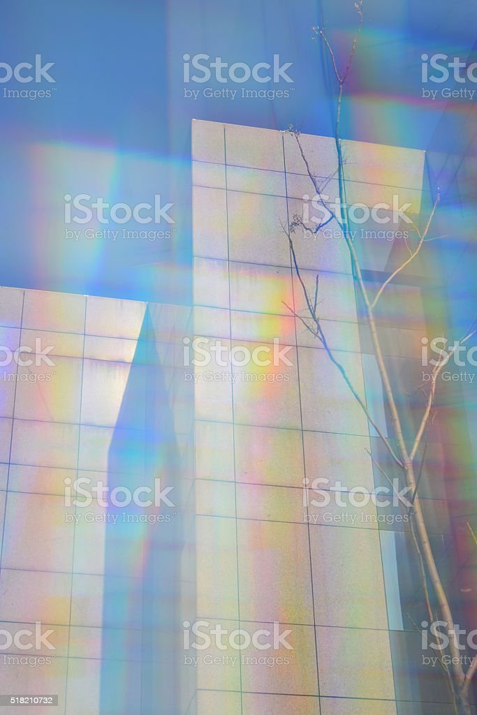modern buildings prism blur stock photo