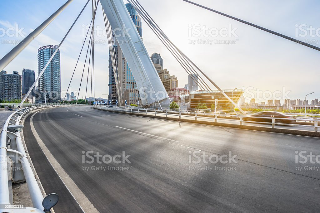 modern buildings with empty road stock photo