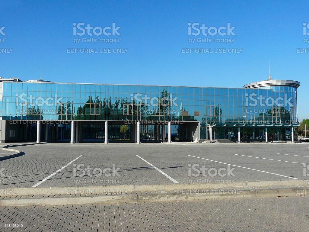 Modern Bus and Railway Station Building in Donetsk, Ukraine stock photo