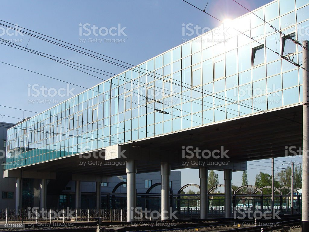 Modern Bus and Railway Station Building in Early Morning stock photo