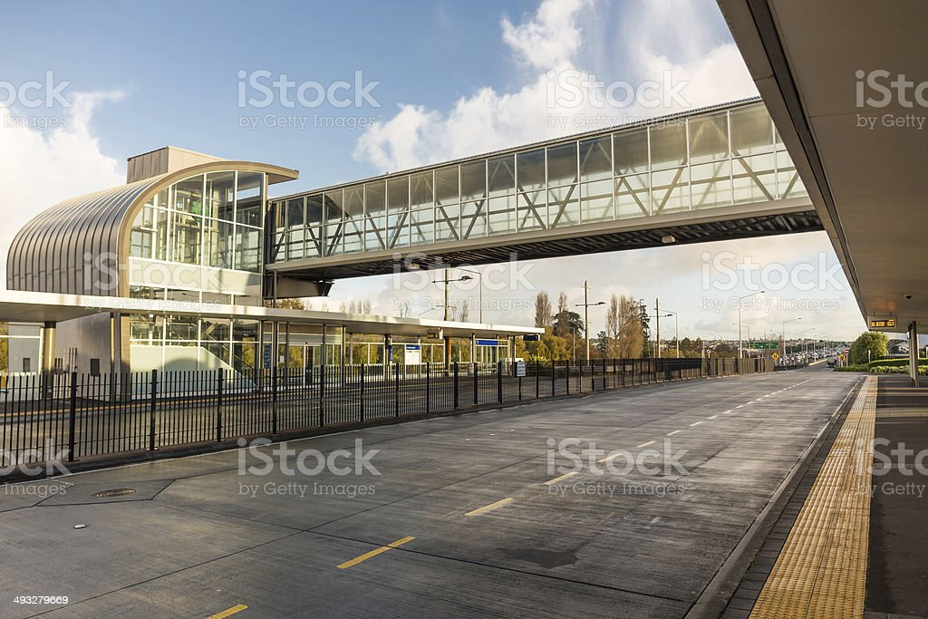 Modern bus station stock photo