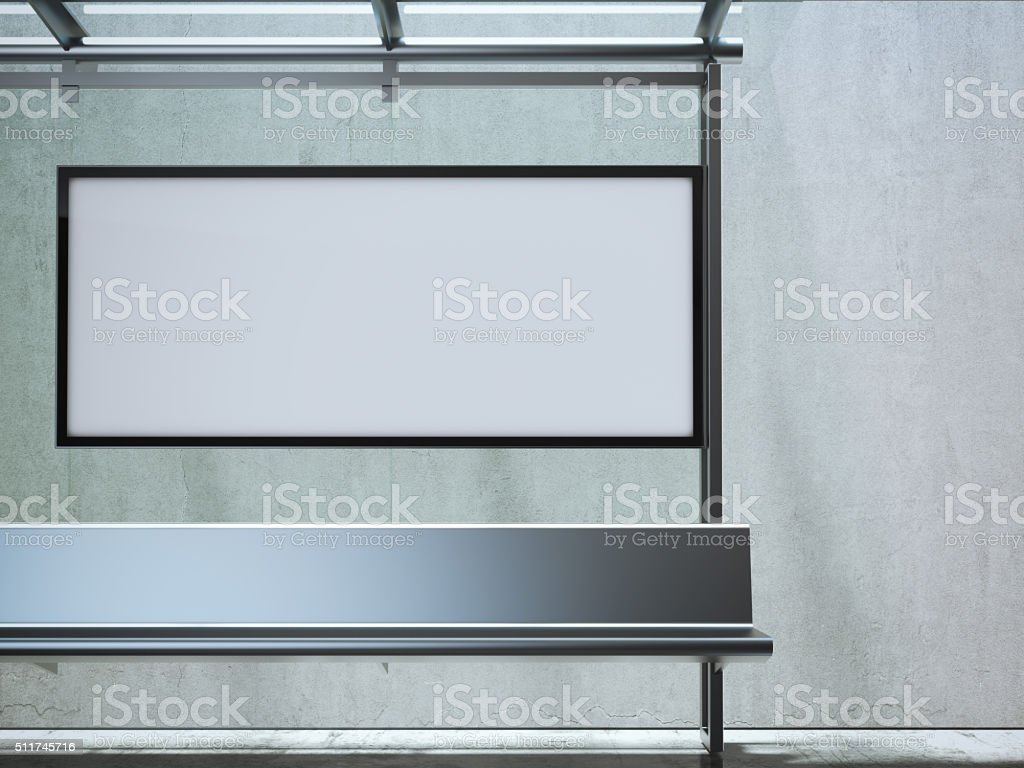 Modern bus station with white billboard. 3d rendering stock photo