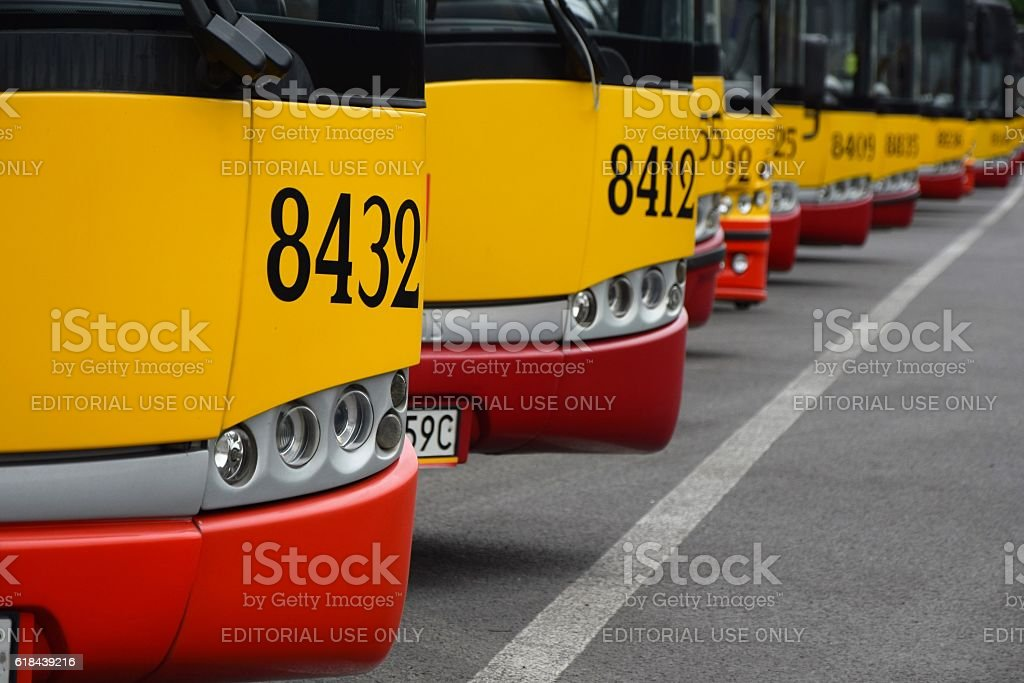 Modern buses on the parking stock photo