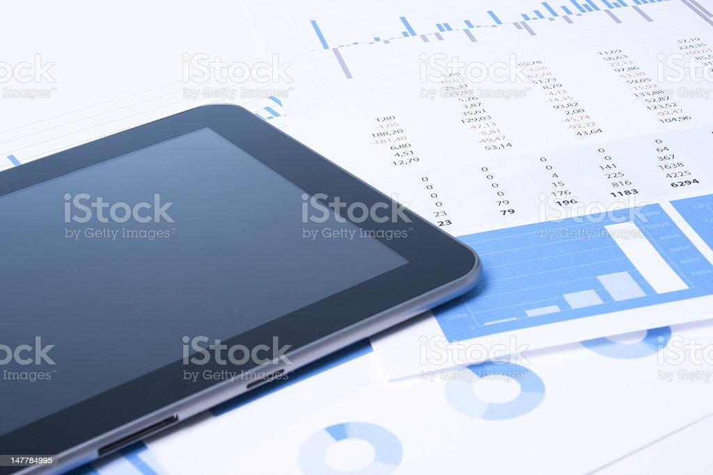 Modern business analysis with tablet royalty-free stock photo