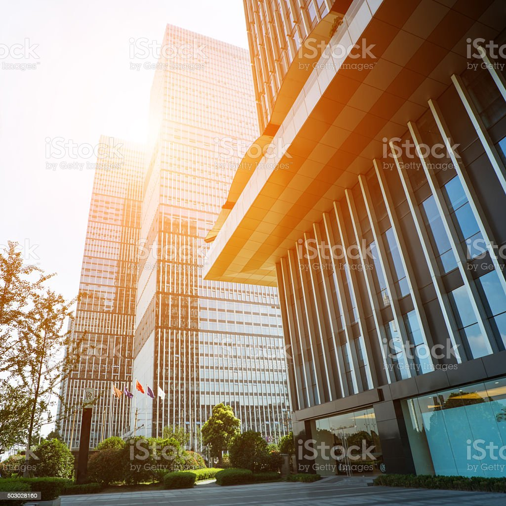 Modern business center square stock photo