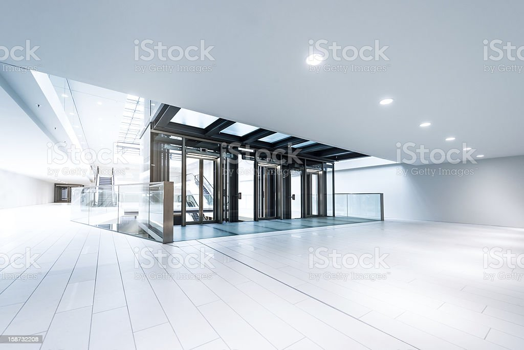 Modern business hall lifts stock photo