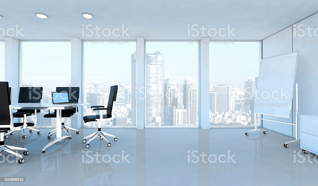 Modern business office interior with windows on skyscrapers stock photo
