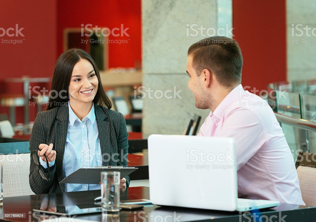 Modern business people brainstorming over new business ideas stock photo