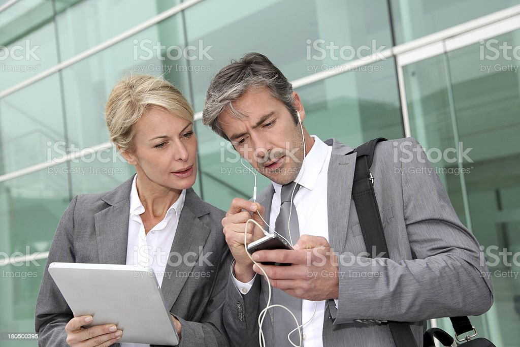 Modern business team at work outdoor royalty-free stock photo